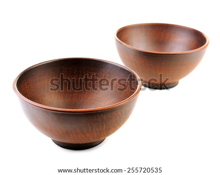 Clay bowls isolated on white - stock photo