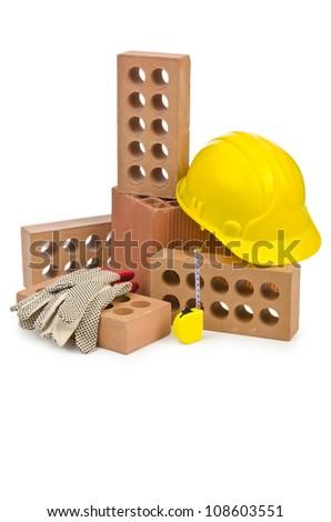 Clay bricks isolated on the white - stock photo