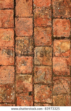 clay bricks soil red pavement traditional in Spain