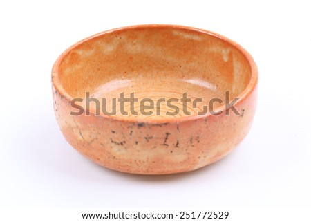 clay ceramic bowl dishware isolated on white background