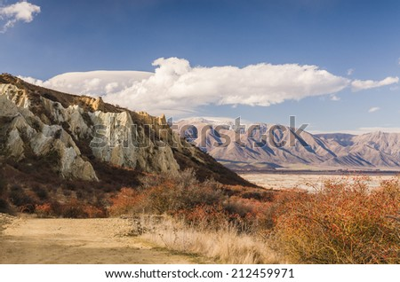 Clay Cliffs, famous attraction in New Zealand - stock photo
