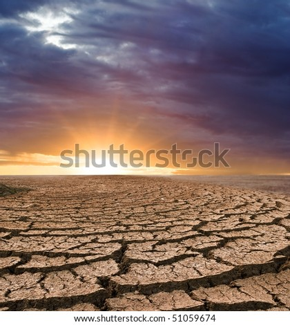clay desert at the sunset