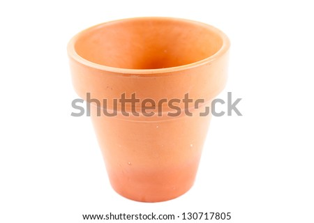 clay flower pot isolated on white background - stock photo