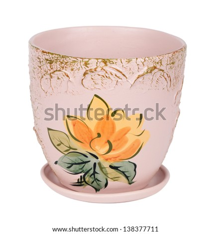 Clay flower pot with a saucer, isolated on white background - stock photo