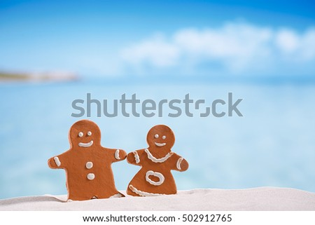 clay gingerbread boy and girl on beach with seascape background