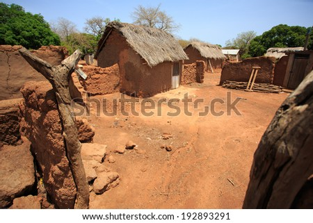 Clay house in african style, taken in Ghana, West Africa