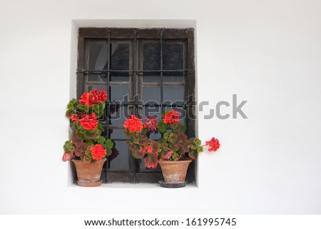 Clay house's window with geraniums from Hungary - stock photo