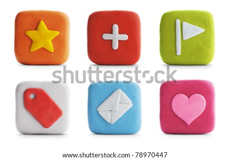 Clay Icons | Web & Internet (with Clipping Path) - stock photo