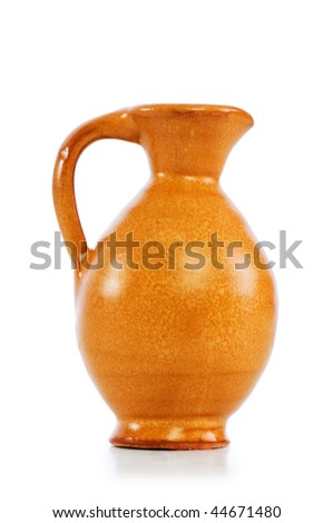 Clay jars isolated on the white background - stock photo