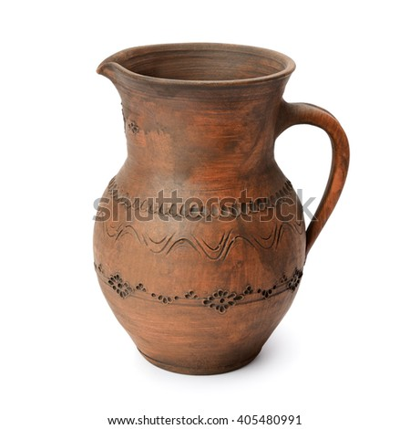 Clay jug isolated on white - stock photo