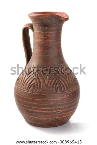 clay jug isolated on white background - stock photo