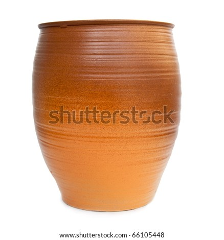 Clay jug isolated on white background - stock photo