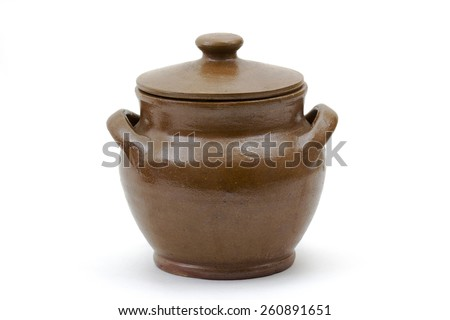 Clay jug, old ceramic vase isolated on white background - stock photo