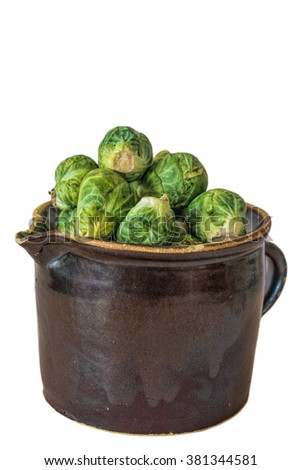 Clay jug with Brussels sprouts - stock photo
