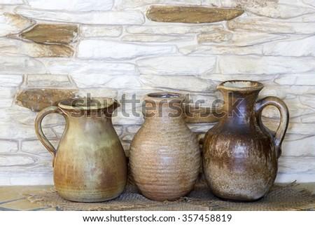 Clay jugs, old ceramic vases - stock photo