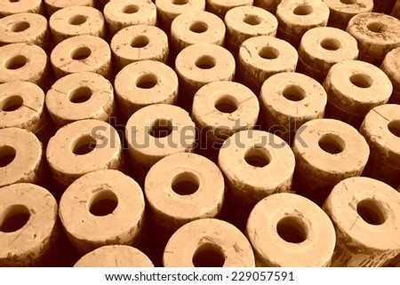 clay parts on the production line, in the ZhongTong Ceramics Co., Ltd. January 5, 2014, Luannan county, Hebei Province, China.   - stock photo
