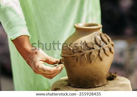 clay pot creation traditional handicraft in vietnam - stock photo