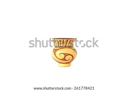 clay pot on white - stock photo