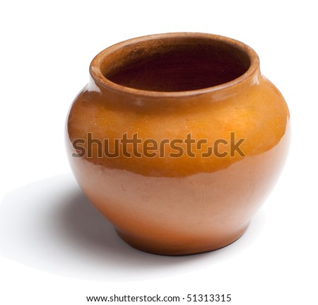 clay pot on white background - stock photo