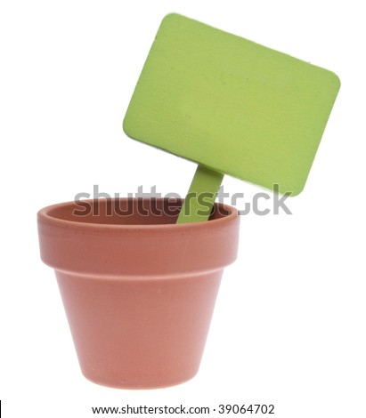Clay Pot with Blank Green Sign Isolated on a White Background.