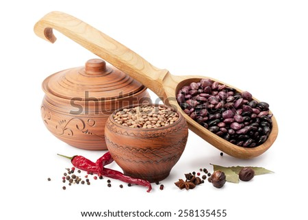 clay pot, wooden spoon, lentils, beans and spices isolated on white background