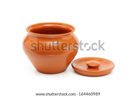 Clay pots for cooking isolated on white - stock photo