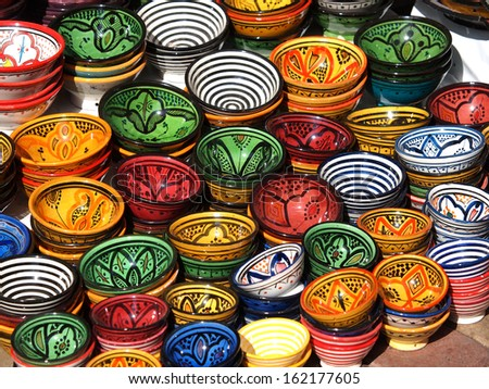 clay pots on the streets of Marrakesh       - stock photo