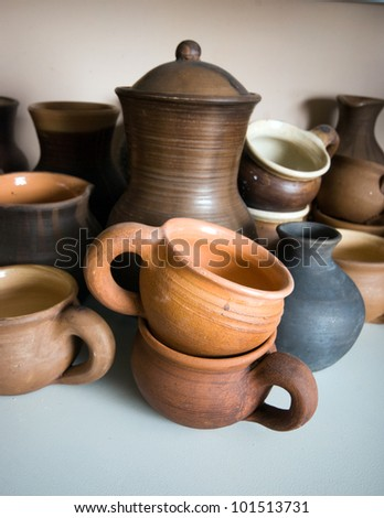 clay pottery ceramics - stock photo