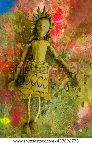 Clay puppet. Marionette doll. - stock photo