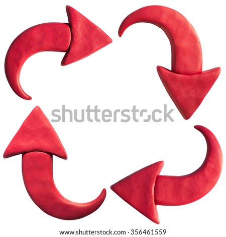 Clay putty, plasticine handmade dimensional arrow icons set. Putty design red different directions arrows and badges template isolated on white background. - stock photo