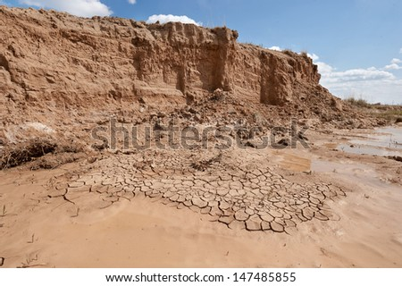 Clay quarry abandoned and dead from the summer heat - stock photo