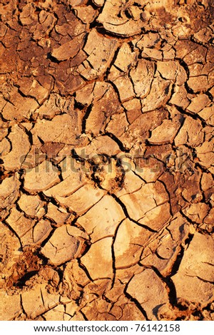 Clay soil is covered with cracks due to prolonged drought. - stock photo