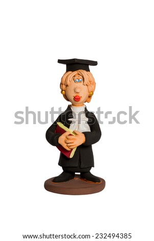 Clay statuette a woman with a book in his hand in the a black mantle isolated on white background - stock photo