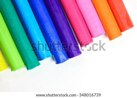 Clay sticks of various colors beautifully. - stock photo