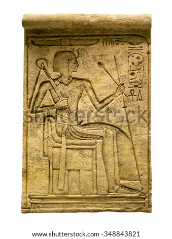 Clay tablet with ancient egyptian hieroglyphs containing the figure of a pharaoh - Isolated on white with clipping path