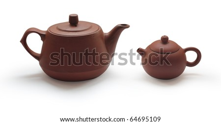 Clay teapots isolated on white background - stock photo