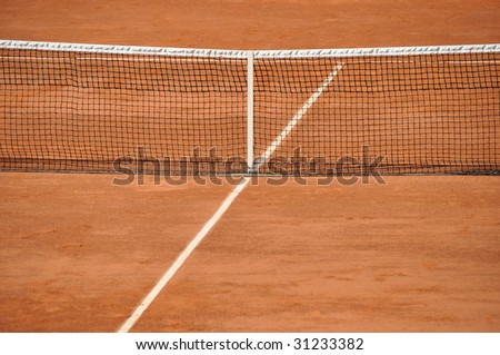 Clay tennis court - stock photo