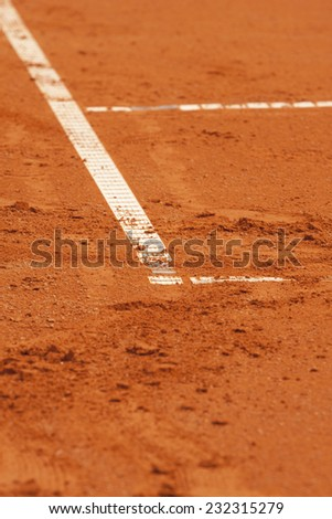 Clay tennis court. The French open Roland garros clay court. Grand Slam - stock photo