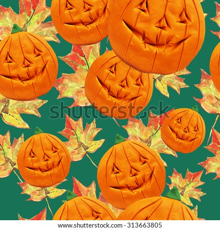 Clay watercolor pumpkins and maple leaves. Seamless pattern.
