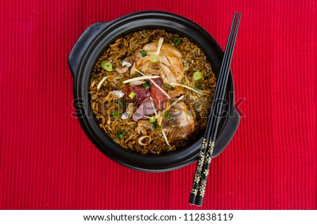 Claypot chicken rice. asia chinese food - stock photo