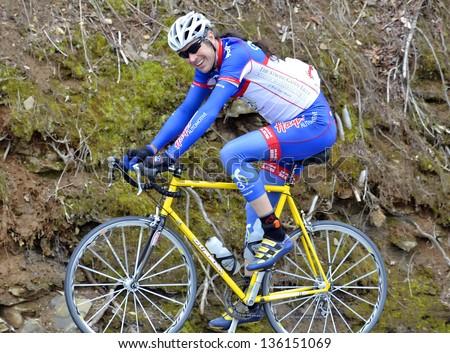 CLAYTON; GA - APRIL 14 : Jim Bowcock riding in the Tour of GA Gran Fondo; April 14; 2013; in Clayton; GA. a National Championship Series. - stock photo