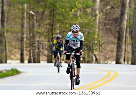 CLAYTON; GA - APRIL 14 : Men riding in the Tour of GA Gran Fondo; April 14; 2013; in Clayton; GA. a National Championship Series. - stock photo