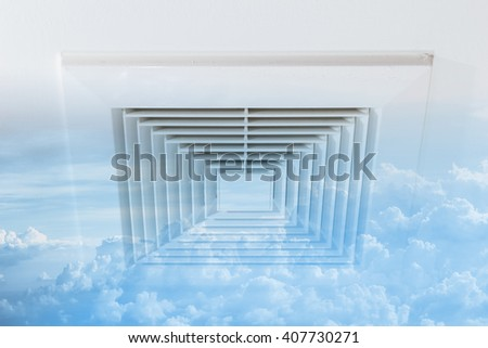 Clean Air Duct, Ozone fresh air, Danger and the cause of pneumonia in office man. - stock photo