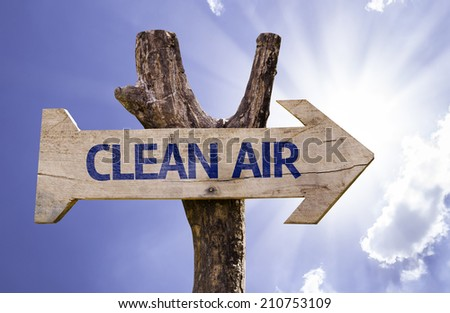 Clean Air wooden sign with sky background  - stock photo