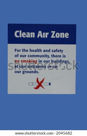 Clean air zone no smoking area
