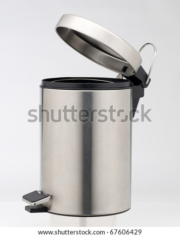 Clean aluminum trashcan isolated - stock photo