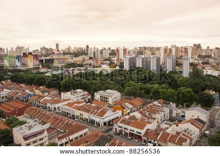 Clean and colorful City outskirt in sunset view- Singapore - stock photo