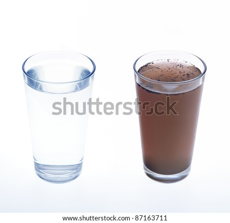 Clean and dirty water in drinking glass - concept - stock photo