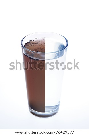 Clean and dirty water in one glass isolated on white background - stock photo
