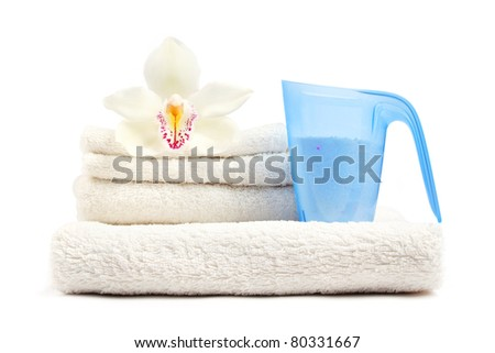 Clean and fresh laundry on white background. - stock photo